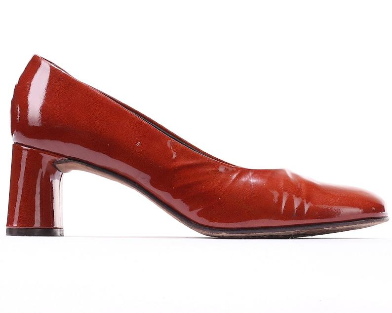 US 8 Vintage Office Pumps Burnt Red Bohemian 90s Formal Shoes Rustic Retro Patent Leather Heels K+S Secretary Pumps . Eur 38.5 Uk 5.5