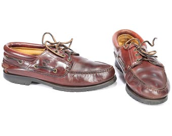 Us men 9 Vintage Boat Shoes 80s Leather Brown Distressed Top Sider Timberland Loafers Rugged Sole Wide Fit Comfortable Eur 43,  UK 8.5