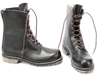 Men Us 8.5 Vinatge COMMANDO Combat Biker Boots 80s Black Steel Toe Military Army Boots Platform Chunky Thick Leather Punk Eur 42   UK 8