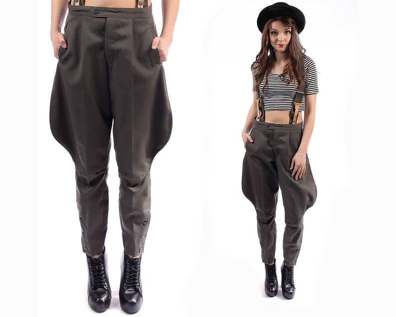 JODHPURS PANTS 70s Army Retro Trousers Khaki Wool Military  ba244260c