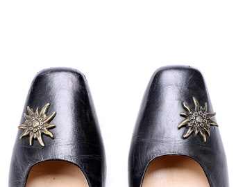 Black Leather Pumps Shoes 80s Chunky Heel Edelweiss Pin Leather Vintage Wide Fit European Quality Made In Austria EU 38.5 UK 5.5 US 8