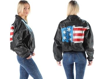 USA Leather Biker Jacket Vintage 80s Aviator Flight Jacket Oversized Moto Jacket America Flag Jacket Punk Unisex Men Leather Jacket . XL XXL