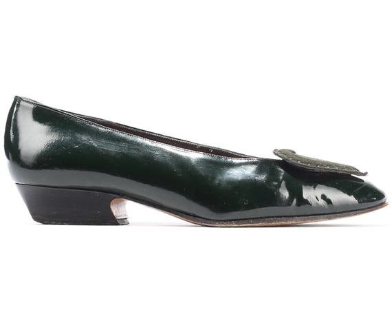 Shoes 4 Us 1980s Vintage Heel Italy EUR Heart Heart Shoes Patent Ballerinas 7 UK Moss Green 37 80s size Flats On Slip Suede Leather Low 5 B0xqdUB