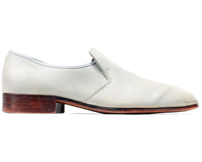 1ec9c9a0f364f US men 8 White Wedding Shoes For Men 70s Loafers Vintage   Etsy