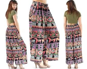 Cotton Palazzo Pants 90s . Camel Caravan Print Harem Pants Wide Leg Purple Vintage Handmade Drawstring Summer Trousers Hippie. M to L