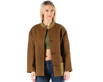 Ethnic Wool Jacket Collarless 80s Brown Bohemian Vintage Handmade Mini Coat Solid Blazer Wooden Buttons Baggy Short Coat Outerwear Large