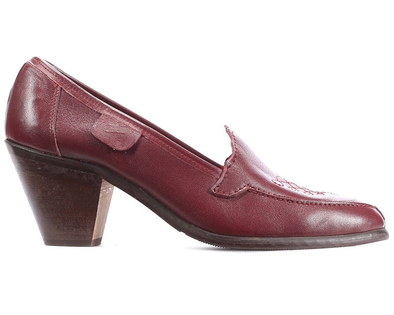 acc9de4497a0f US 6.5 Cone Heel Pumps 70s Burgundy Loafers Vintage Red Leather Heeled  Shoes Bohemian Cuban Heel Retro Flat Narrow Fit Eur 37, Uk 4