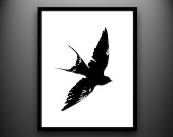 Bird Papercut: Framed Swallow Hand-Cut Paper Silhouette- 8x10