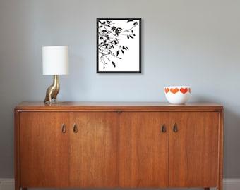 "Papercut, Crabapple, 14x18"" framed original hand-cut paper art"