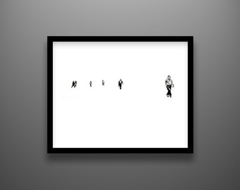 "Papercut, Plaza, 18x14"" framed original hand-cut paper art"