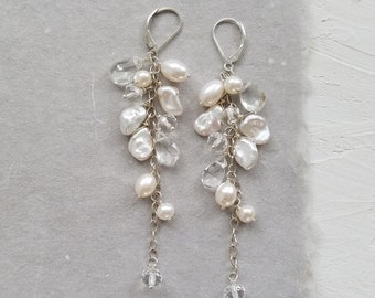 Statement Bridal Earrings, White Freshwater Pearl Earrings, Cluster Bridal Earrings, Long Dangle Pearl Earrings, Heirloom Jewelry