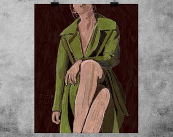 Original Painting - LIMITED EDITION Digital Painting Girl Painting Portrait painting digital oil painting Green Coat