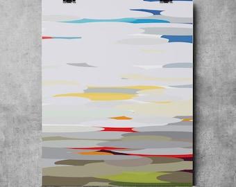 Mid Century Abstract Landscape Mid-Century Modern, - Original Illustration Fine Art Eames abstract landscape ovals geometric