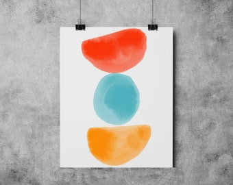 Watercolor 7 Mid Century Modern Shapes Series watercolor painting abstract watercolor mid century modern Eames Era watercolor paining print