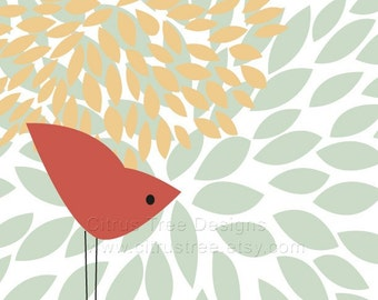 One Red Bird Original Illustration Fine Art Print - graphic art print wall art nursery art