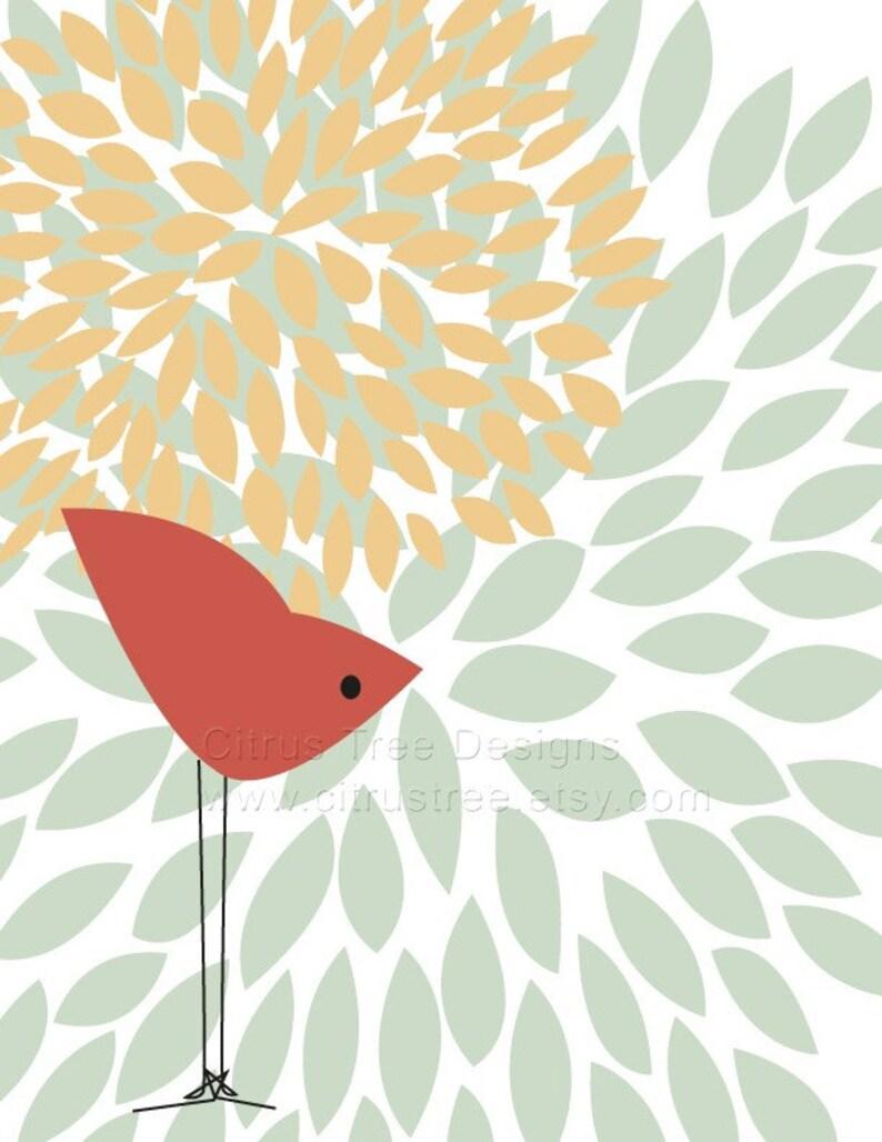 One Red Bird Original Illustration Fine Art Print  graphic image 0