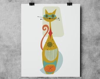 Mid Century Cat Mid-Century Modern, Downloadable - Original Illustration Fine Art Quality Giclee Print cat kitten poster mid century