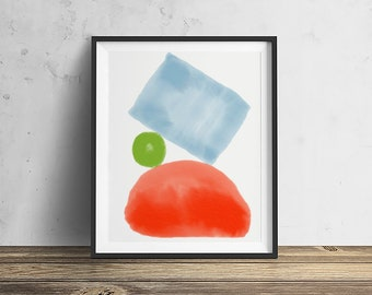 Watercolor 5 Mid Century Modern Shapes Series watercolor painting abstract watercolor mid century modern Eames Era watercolor paining print