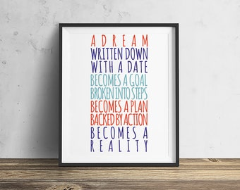Make Dreams Reality  Mid-Century Modern, Downloadable - Original Illustration Fine Art Eames Print Wall art Typographical art quotes quote