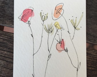 FREE SHIPPING Hello Spring Artist Trading Card Spring Flowers  signed and dated