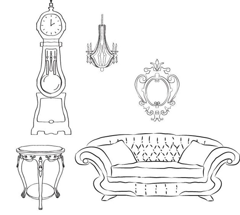 DOWNLOAD Clip Art Vector Images of Vintage Furniture Hand image 0