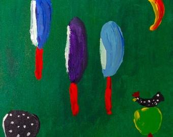 In the Barnyard  Folk Art Painting Acrylic on Canvas