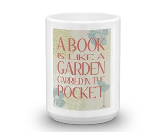 Mug for Book Lovers and Fans of Public Libraries, Readers, Spring design,