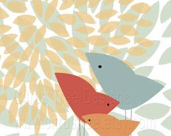 We Are Family - 5 x 7 - Original Illustration Fine Art Print - Birds, Family, Love, Baby, Mother, Father, Child - BUY 2 GET 1