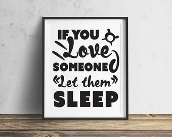 Love to Sleep Sleep Mid-Century Modern, Downloadable - Original Illustration Fine Art Eames Print Wall art Typographical art quotes quote
