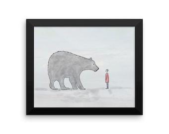 Hello!  Framed Nursery Art Child Bear Friends Framed Wall Art Original Watercolor Print framed and ready to hang
