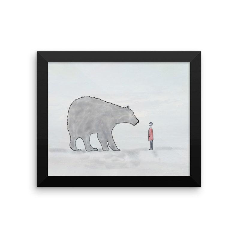 Hello  Framed Nursery Art Child Bear Friends Framed Wall Art image 0