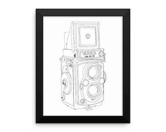 Framed in Wood Vintage Yashica Camera Original Illustration Framed Wall Art Photographers Photography Hand Drawn Camera Print