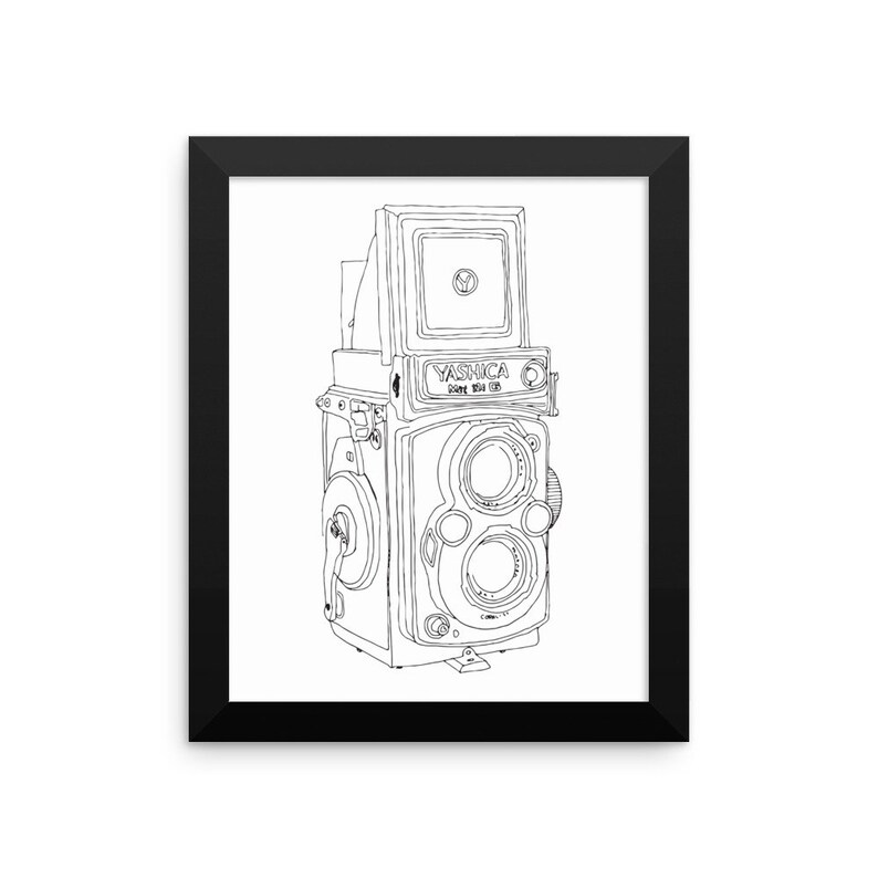 Framed in Wood Vintage Yashica Camera Original Illustration image 0