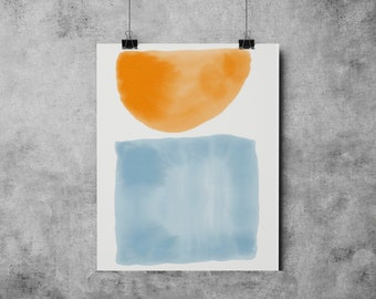 Watercolor 2 Mid Century Modern Shapes Series watercolor painting abstract watercolor mid century modern Eames Era watercolor paining print