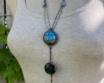 Cosmic Collection Sterling Silver and Labradorite Starry Night Necklace