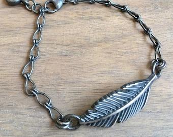 Sterling Silver Feather Bracelet