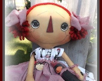 """Primitive raggedy Lady Bug doll 26/"""" Lola Mailed PAPER PATTERN #150"""