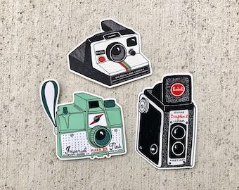 Vintage Camera Stickers   Set of 3