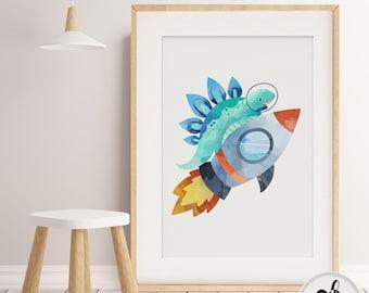 Boy nursery decor.  Space Nursery wall art. Little Boys Room print, Dinosaur Print, Rocket Ship, Nursery, Boys wall art