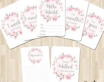 c1697254fa25b Elegant Floral Pretty Baby Milestone cards x 20 special Moments ...