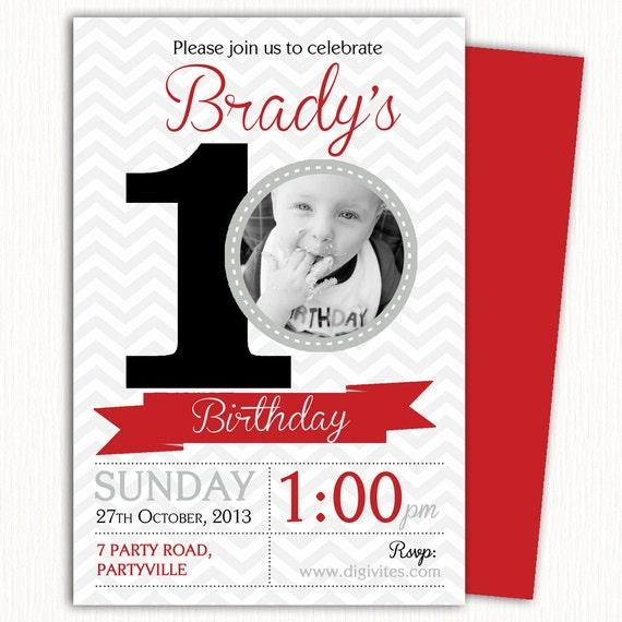 Photo Birthday Invitation 1st Boy 2nd 3rd Free Background Print Yourself