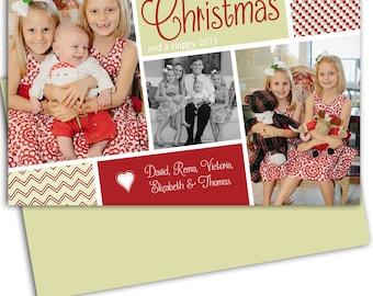 Custom Photo Christmas card/Photo Holiday Card/Digital file/ Christmas Greeting card/Christmas Card/Free Background/Print yourself