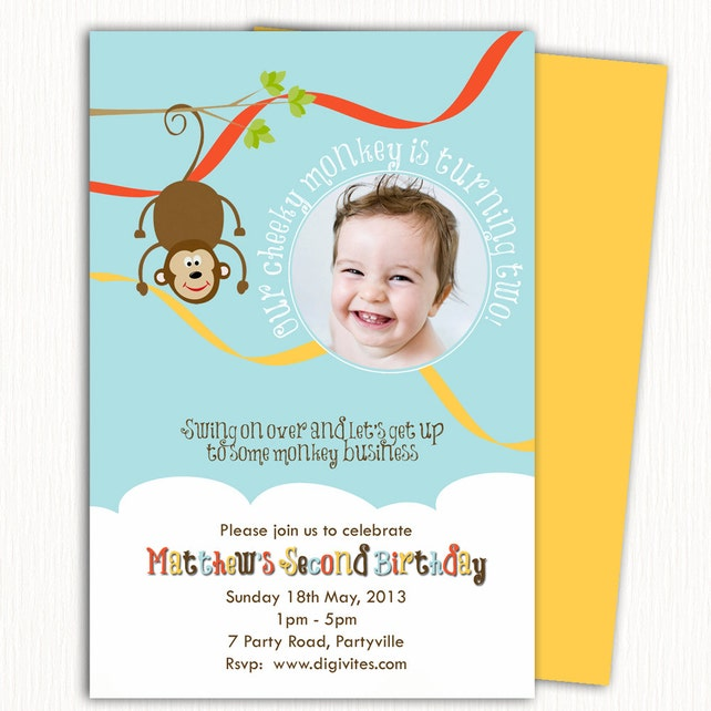 Photo Birthday Invitation 1st Boy Monkey Free Background Print Yourself