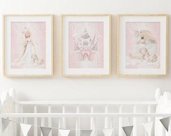 Baby, Girl, nursery bedroom decor.  Watercolour Unicorn Prints, Castle, Princess Wall Art, Floral Unicorn Believe. Set of 3 prints.