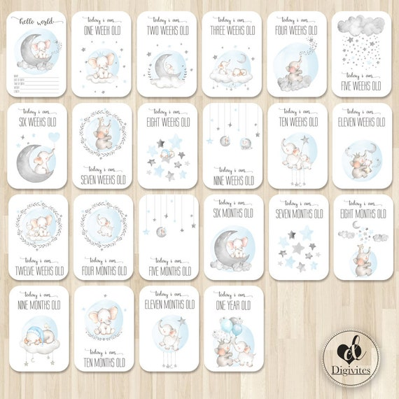 40 Cards in French for Remembering Important Moments O3 Milestone Baby Cards Suitable for Baby Girls and Boys