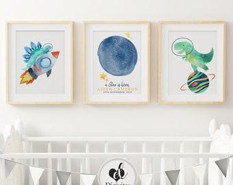 Baby, Boy nursery Bedroom Wall Art. Custom Star Map print, Announcement print, Outer space prints, Dinosaur print, Planet, Rocket ship