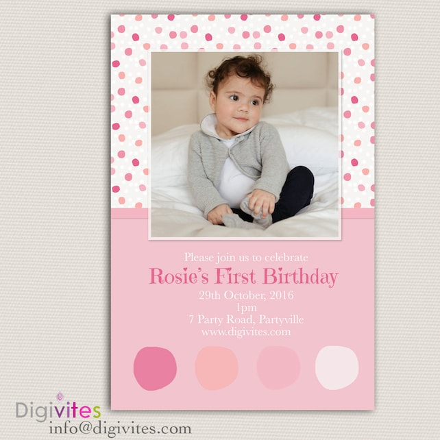 First Birthday Invitation, Personalised Invitation, Girl birthday invitation, First Birthday Invitation, 2nd Birthday, 3rd Birthday, Pink