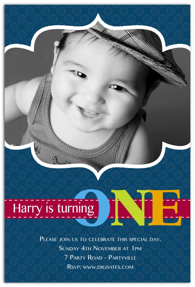 Photo Birthday Invitation 1st Boy 2nd 3rd Free Background Print Yourself