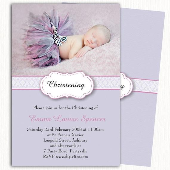 items similar to photo christening invitationgirl baptism invitation namingdedicationpurple