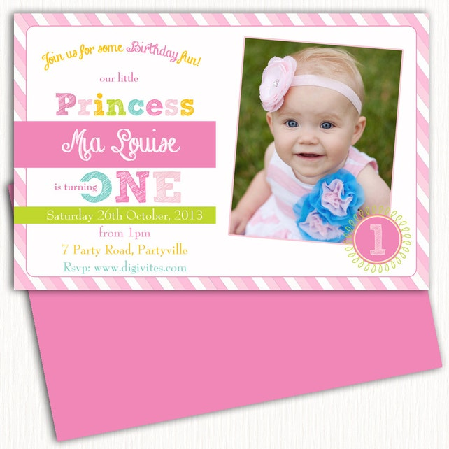 Photo Birthday Invitation 1st 2nd 3rd Girls Free Background Pink Striped